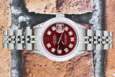 Ladies Fully Loaded with Diamonds Rolex Oyster Perpetual Datejust - Red Dial.