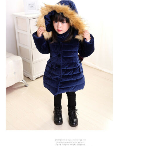 Winter Baby Kids Girls Long Padded Coats Fur Hooded Jacket Puffer Warm Parka Bow
