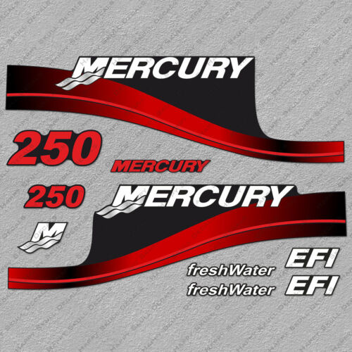 Mercury 250hp EFI FreshWater Series outboard engine decals RED sticker set