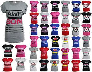 New-Womens-Ladies-Graphic-Print-Funny-Slogan-Top-Short-Sleeve-TShirt-Tee-UK-8-14
