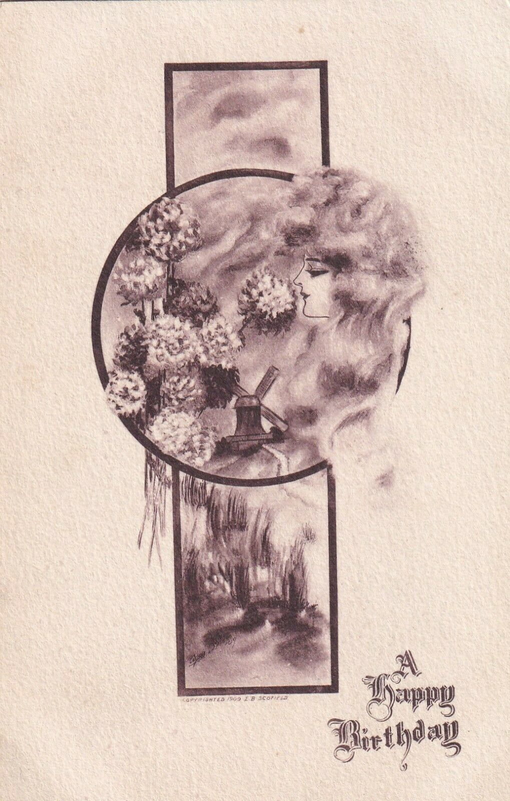 BIRTHDAY, 1900-10s; Woman's profile smelling the hydrangeas, Windmill