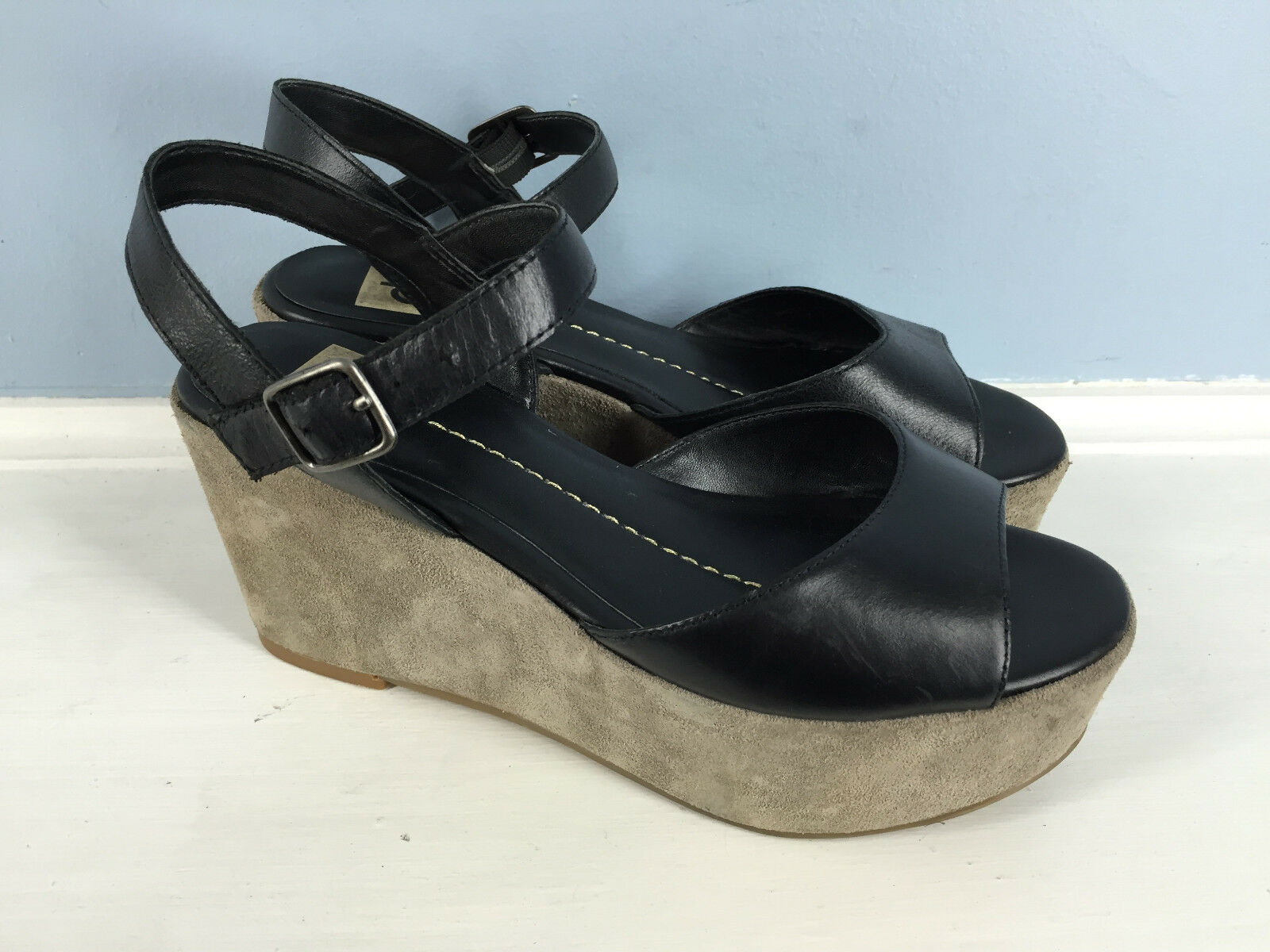 Anthropologie Black DV Black Anthropologie leather gray platform wedge sandal heel Dolce Vita EUC 7 aa71d1