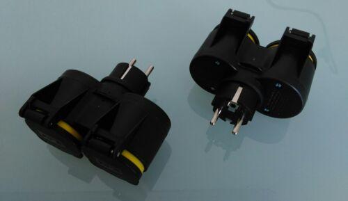 2 x 2 Fach Stecker mit Federdeckel Schuko Doppelstecker mit Federdeckel sw IP44