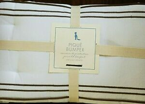 Pottery Barn Kids Pique Nursery Crib Bumper bed brown green stripe Chase Skirt 2