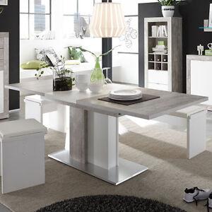 esstisch jump beton dekor weiss wohnzimmer tisch ausziehbar - Wohnzimmer Esstisch