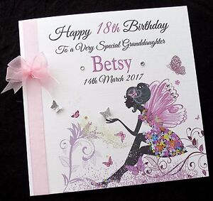 Image Is Loading Personalised 8 034 FAIRY Birthday Card Daughter Granddaughter