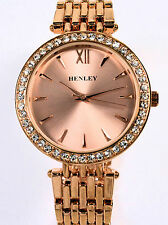 Henley Ladies Watch Sparkly Crystal Diamante Rim, Rose Gold Tone Metal Strap