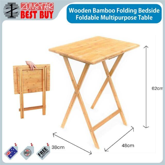 Wooden Bamboo Folding Bedside Foldable Multipurpose Table