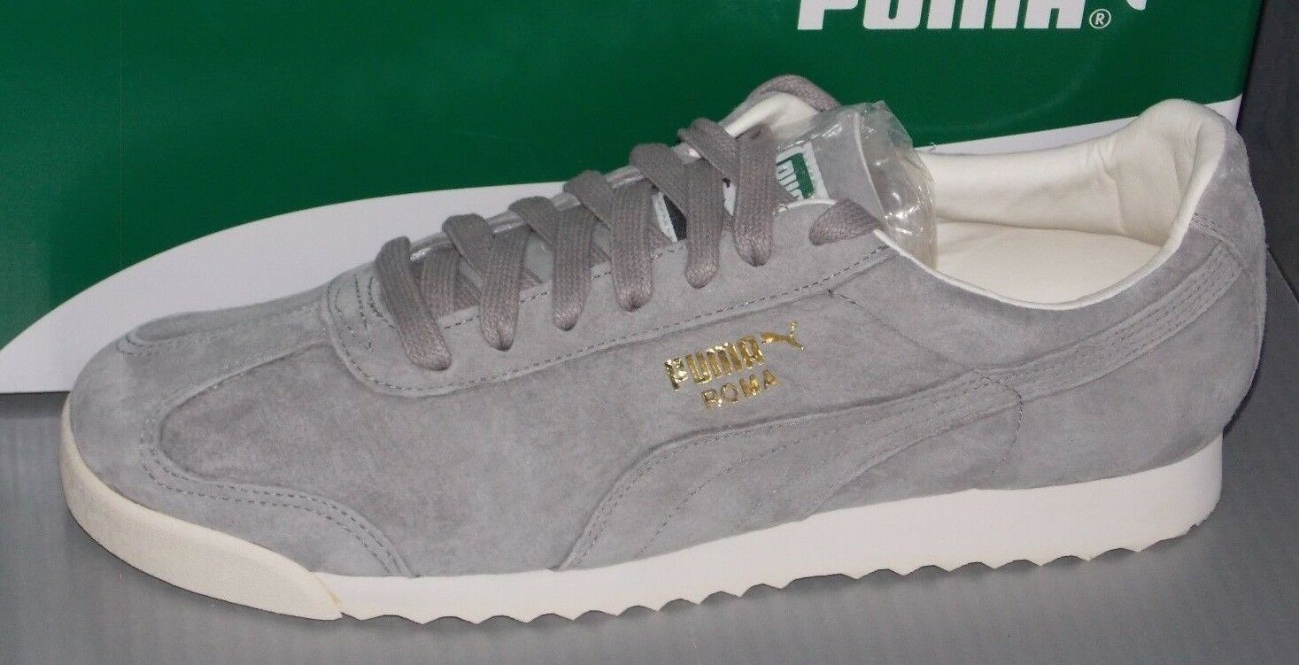 MENS PUMA ROMA DISTRESSED NBK in colors DRIZZLE / WHISPER WHITE SIZE 10.5