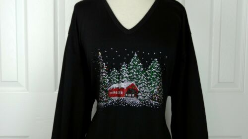 PLUS 3X 3//4 Sleeve Top Rhinestone Embellished Snowy Winter Christmas Tree Design