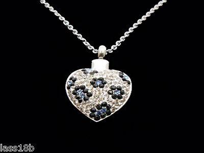 Sparkly Heart Cremation Urn Pendant Necklace Keepsake Jewelry Ash Holder Funnel