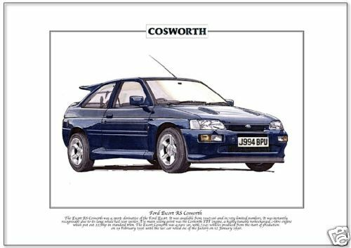 Produced 1992-96  Whale Tail Fine Art Print A4 size FORD ESCORT RS COSWORTH