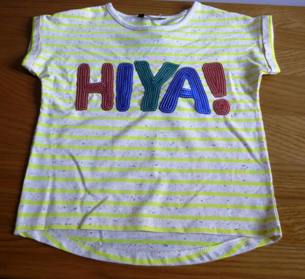 c88f291dfe2e7 Girl s Short Sleeved T-Shirt-Neon Yellow Stripes- HIYA! Design- Ages 5-11  years