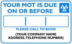 GARAGE CHOICE OF QTY YOUR SERVICE IS DUE ON STICKERS LABELS MOT WORKSHOP