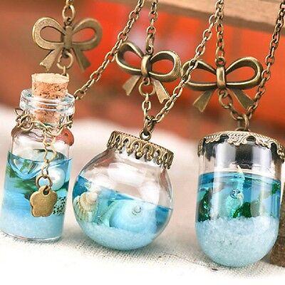 Charm Mermaid Tears Blue Sea Glass Wishing Bottle Perfume Vial Pendant Necklace
