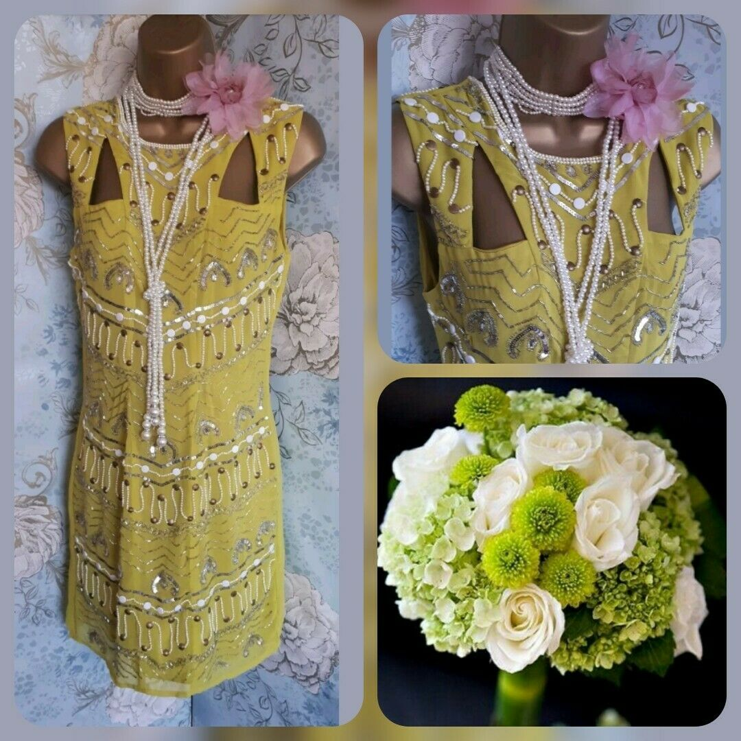 Maya lime green bead 20s deco gatsby flapper evening party dress 12 40