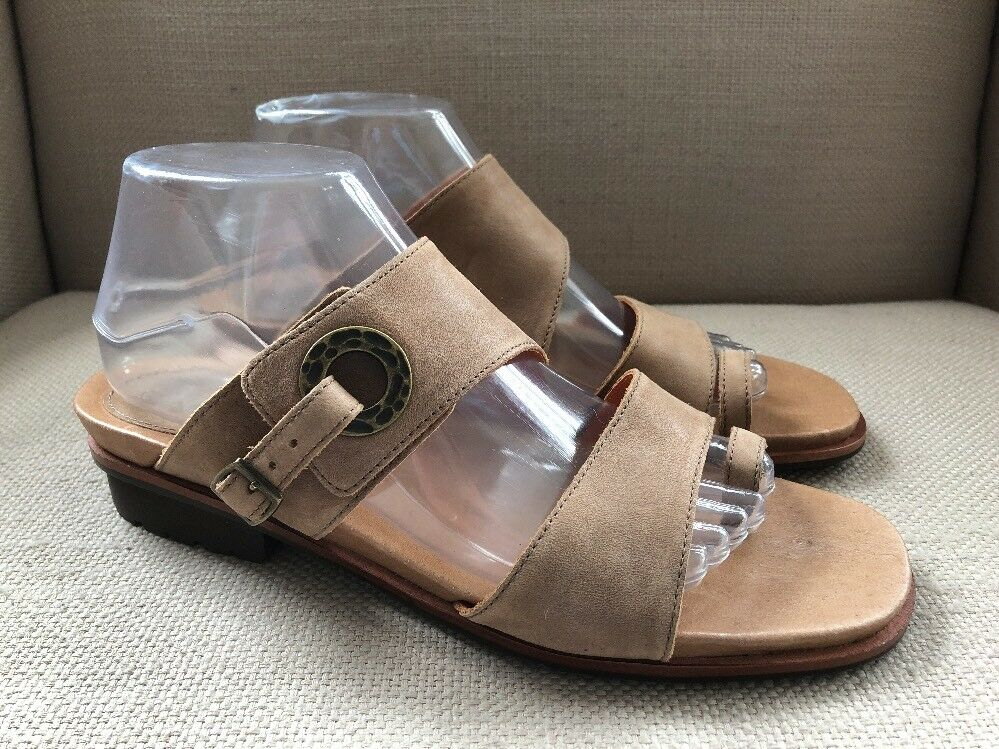 ARIAT KAILEY BUFF LIGHT BROWN TAN LEATHER SLIDES SANDALS SIZE 10 B