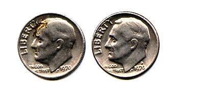 US Dime:: 1970 p,d Roosevelt dimes
