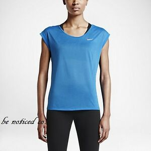 0b4fb3ba526e7 Nike Women's Dri-Fit Short Sleeve Running T-Shirt XS Blue Gym ...
