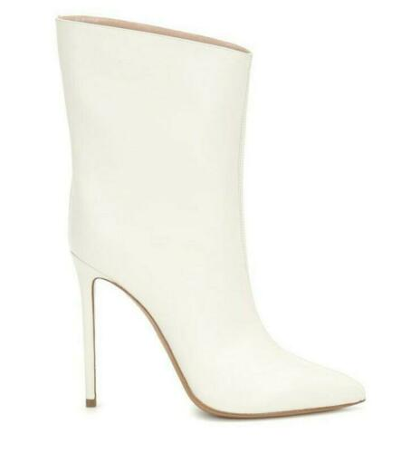 Details about  /Occident Womens Pointy Toe Mid Calf Riding Boots High Heels Stiletto Pumps Shoes