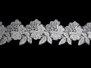 """Unotrim 3.5/"""" White Ivory Rose Flower Embroidery Sequins Beaded Organza Lace Trim"""