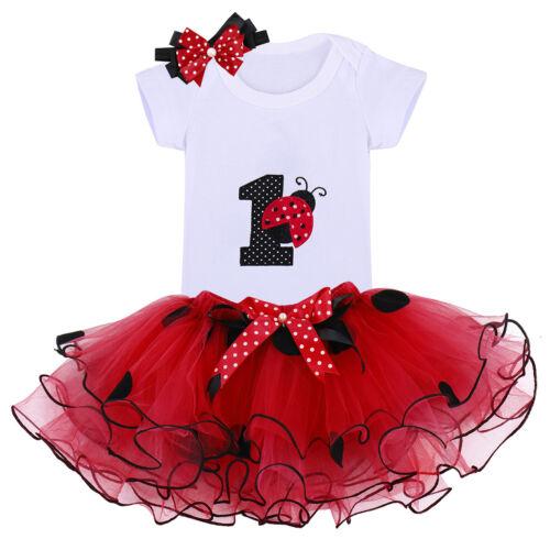 Baby Girls 1st Birthday 3PCS Clothes Unicorn Romper Tutu Skirt Cake Smash Outfit