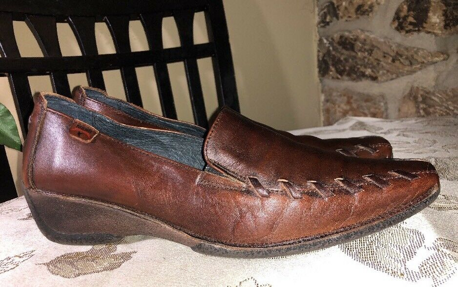 Pikolinos Womens 40 9 9.5 Brown Leather Whipstitch Low Wedge Heel Slip On Loafer