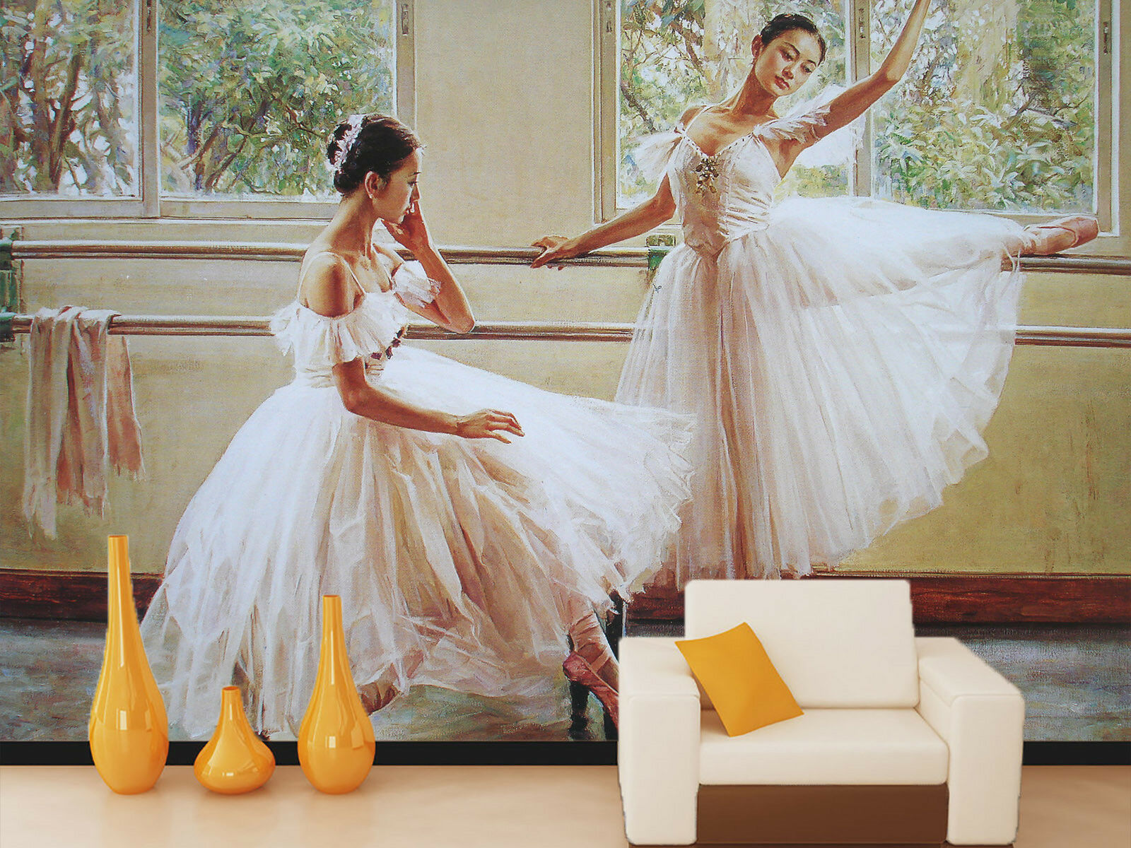 3D Weiß Skirt Dancer 5 Wall Paper Wall Print Decal Wall Deco Indoor Mural Carly