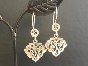 Genuine-925-Sterling-Silver-Teardrop-Earrings-Filigree-Leaf-Circle-Disc-Pear