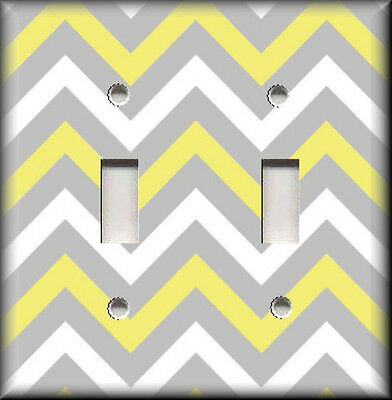 Metal Light Switch Plate Cover - Chevron Zig Zag Yellow Grey White Home Decor