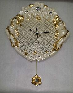 Trempé Orologio A Pendolo Via Veneto Da Parete Ceramica Foglia Oro Angeli E Cristalli