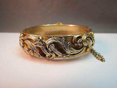 VTG Bangle Bracelet Hinged Repousse Scrolls Gold Plated High Relief Revival Cute