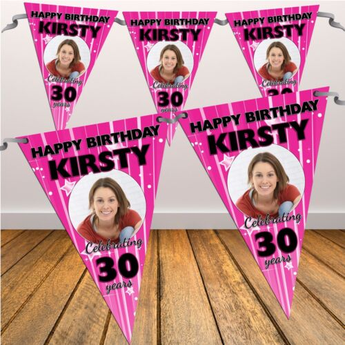 Personalised Happy Birthday Party Flag Banner Bunting N26 18th 21st 30th Any age