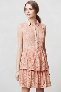 Anthropologie Whimsical Tiered Pink Lace Shirtdress Cocktail Dress, Sizes M & L