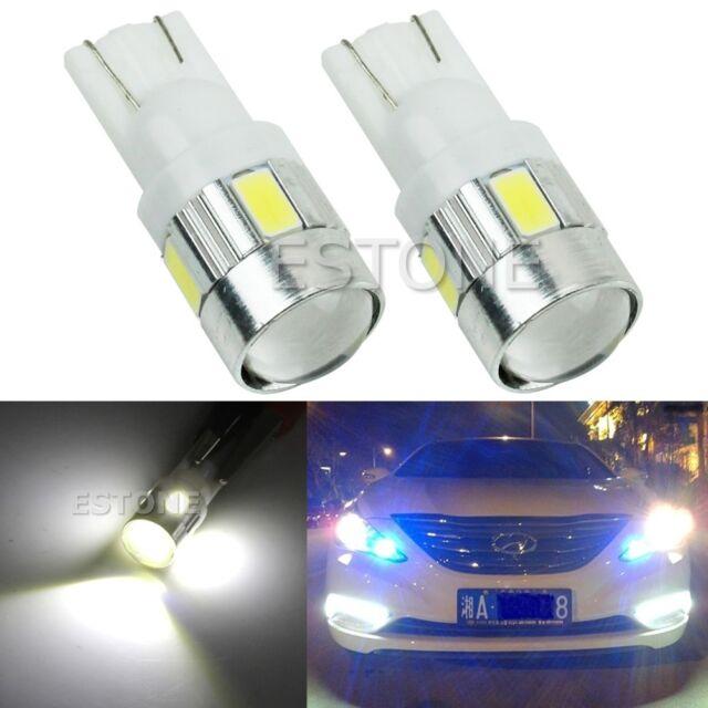 2 x White T10 W5W 5630 6-SMD LED Car Wedge Side Light Bulb Lamp 168 194 192 158