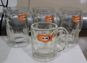 Classic-A-amp-W-Root-Beer-Mugs-Three-6-034-and-One-4-5-034