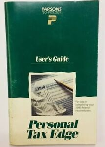 Vintage Parsons Technology Personal Tax Edge IBM PC Computers 1993 Users Guide