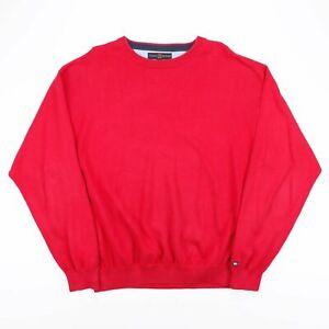 Vintage Tommy Hilfiger rot Baumwolle Feinstrick Pullover Herren Größe XL