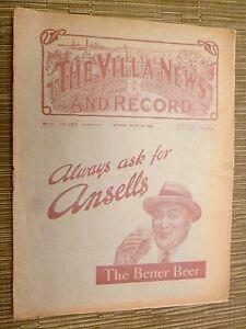 1934 ASTON VILLA RESERVES v BLACKPOOL RESERVE 24th March Central LEAGUE