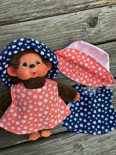 KLEIDUNG Kleid 26-28 cm Puppenkleid Bär Teddy Blümchen Hut für MONCHICHI Gr