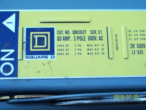 SQUARE D QMJ362T FUSIBLE PANEL BOARD BRANCH SWITCH w HARDWARE 60 AMP 60A 600VAC