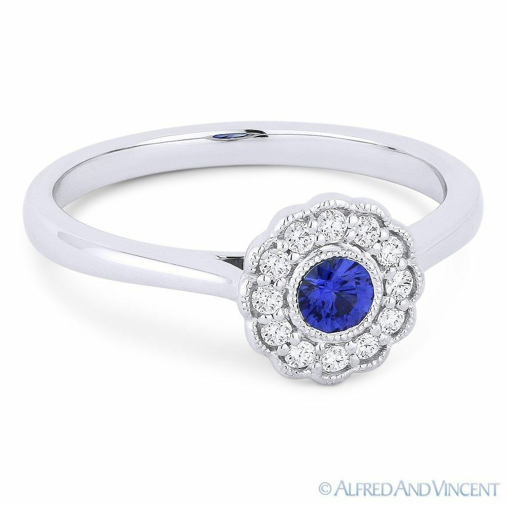 0.31ct Sapphire & Diamond Cluster Flower Charm Statement Ring in 14k White gold