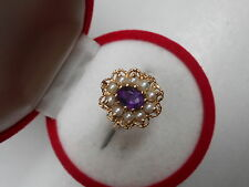 VINTAGE 1970s 14K GOLD 7X5MM OVAL AMETHYST AND SEED PEARLS RING Sz7 NOT SCRAP