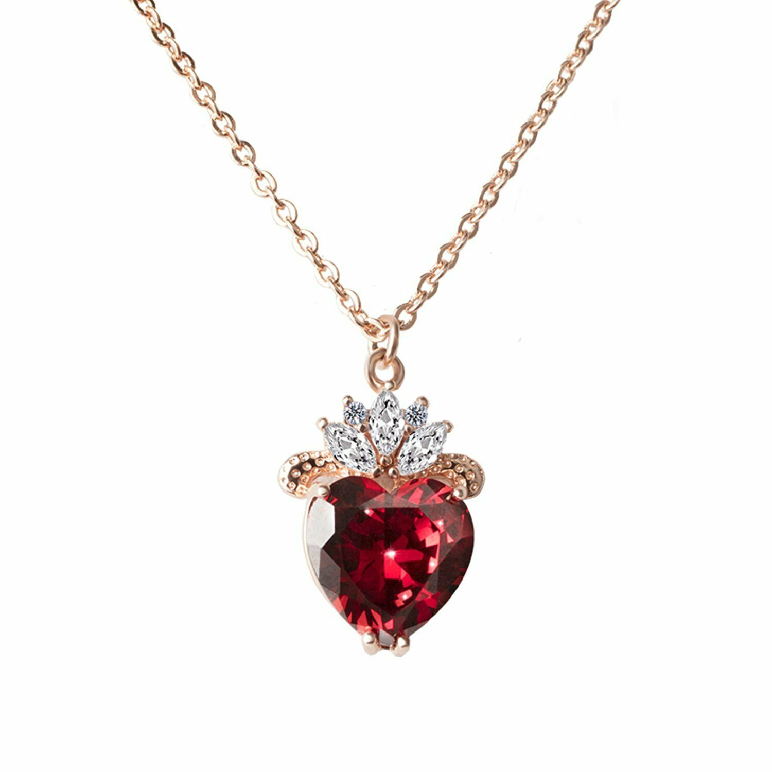 Vinjewelry Queen Of Hearts Evie Costume Necklace Descendants Ruby Red Heart V