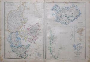 1864 Hand- Farbig Landkarte Dänemark Bornholm Island Greenland Färöer Inseln
