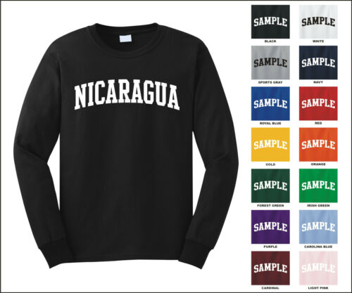Country of Nicaragua College Letter Long Sleeve Jersey T-shirt
