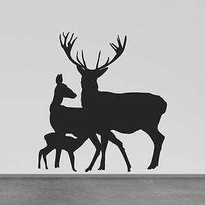 Image Is Loading Deer Family Wall Sticker Stag Doe And Fawn