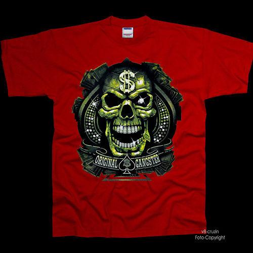 * Rap Hiphop Gangster Biker Gothique Dollars Skull T-shirt * 4186 Rouge