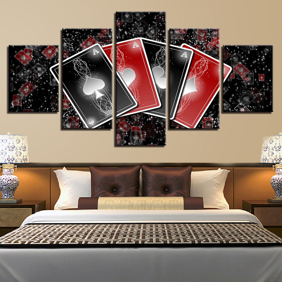 Set Of Ace Playing Cards 5 Piece Canvas Print Wall Art