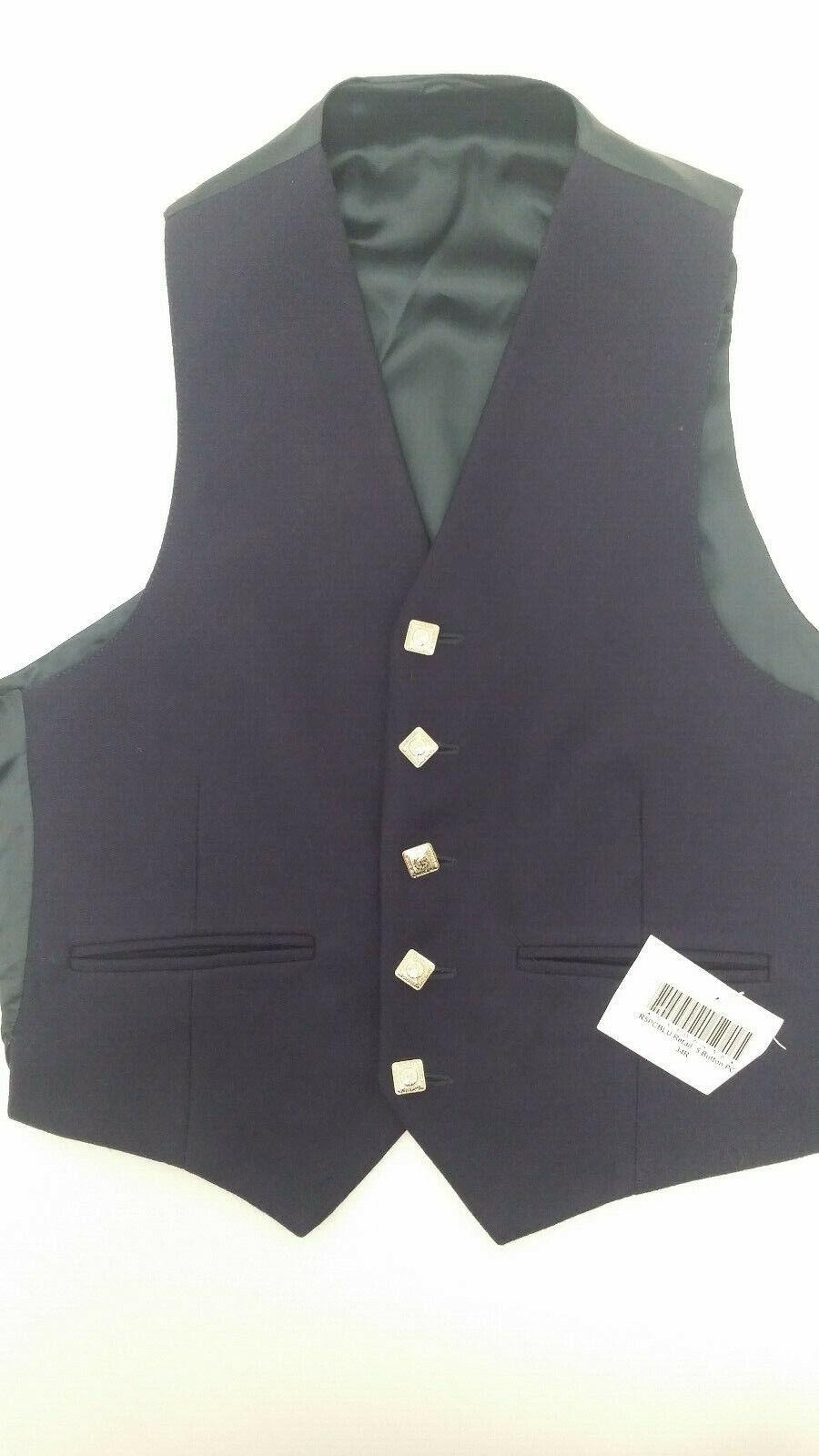 Ex Hire BLUE Wool Argyll 5 x button waistcoat vest 4 Kilts -CLEARANCE SALE-